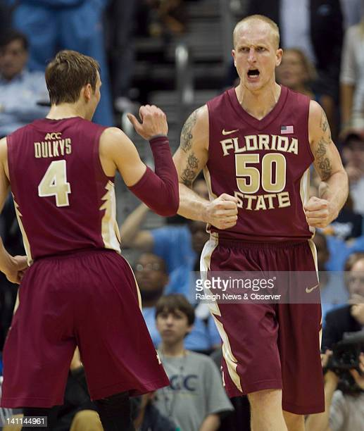 Florida State's Jon Kreft reacts after a dunk against North Carolina during the first half of the championship game in the ACC Tournament on Sunday...