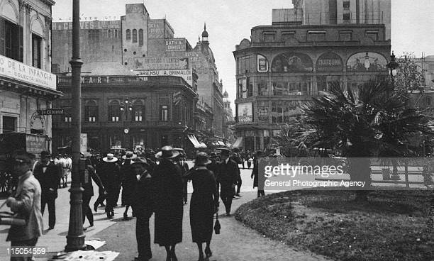 Florida Street meets Diagonal Norte also known as Avenue Roque Saenz Pena Buenos Aires Argentina circa 1905