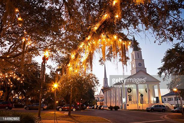usa, florida, tallahassee, church with lights on tree - tallahassee stock pictures, royalty-free photos & images