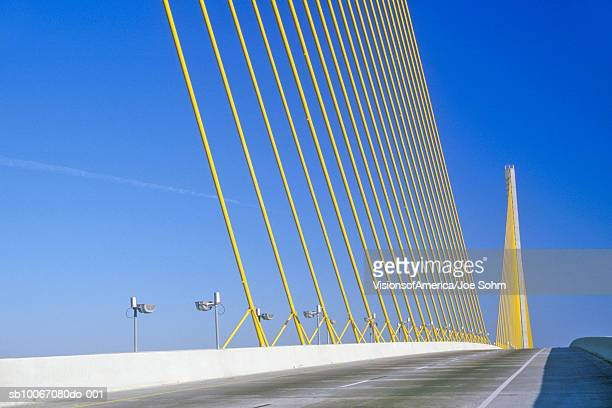 usa, florida, tampa bay, tampa sunshine skyway bridge - sunshine skyway bridge stock photos and pictures