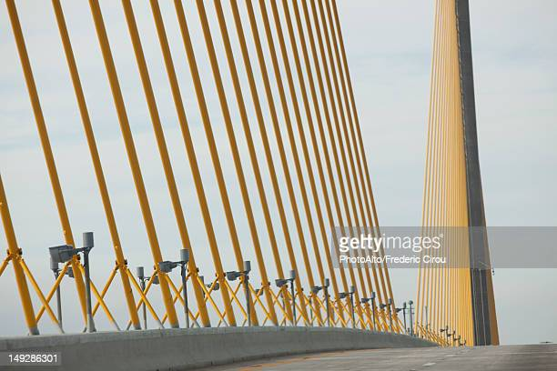 usa, florida, tampa, sunshine skyway bridge, close-up of cable supports - sunshine skyway bridge stock photos and pictures