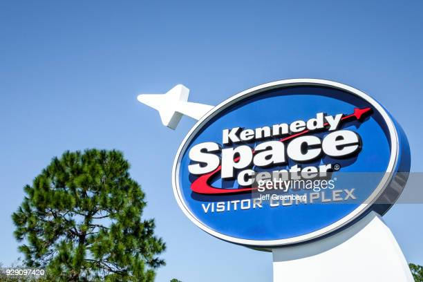 Florida, Titusville, Kennedy Space Center Visitor Complex Sign.