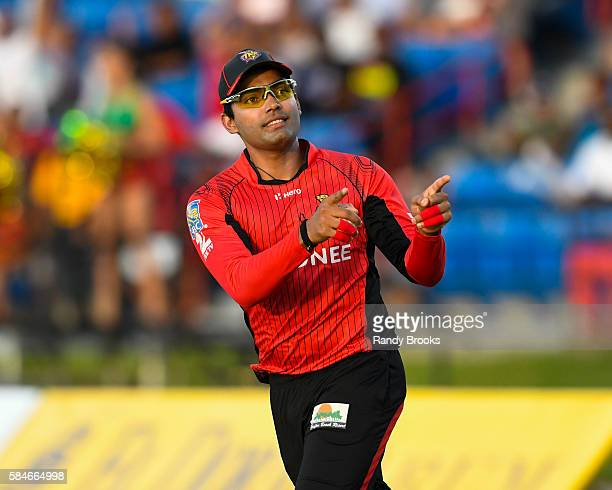 Florida United States 29 July 2016 Umar Akmal of Trinbago Knight Riders celebrates taking the catch to dismiss Lendl Simmons of St Kitts and Nevis...