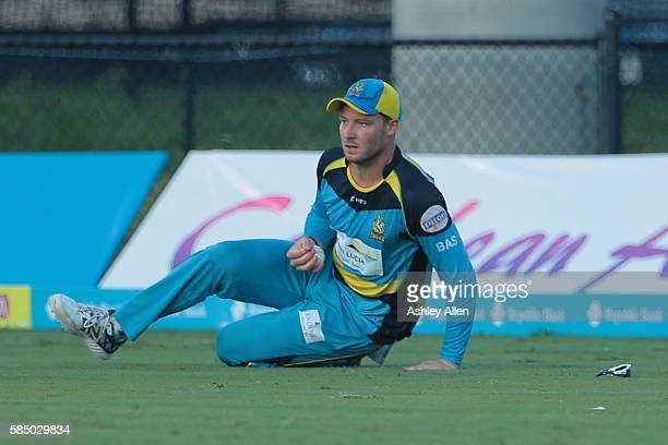Florida United States 31 July 2016 Zouks David Miller catches Tallawahs Chadwick Walton in the outfield during Match 30 of the Hero Caribbean Premier...