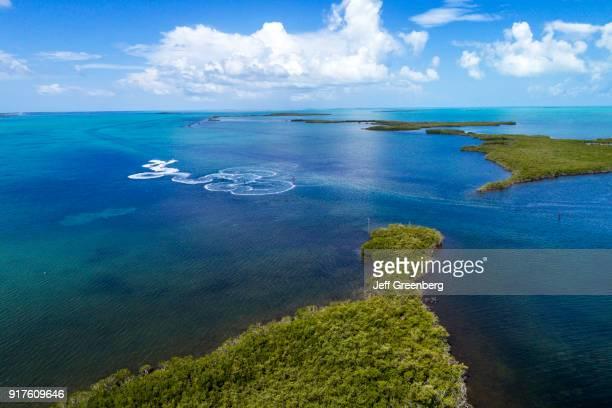 Florida Upper Key Largo Aerial of Baker Cut Everglades National Park