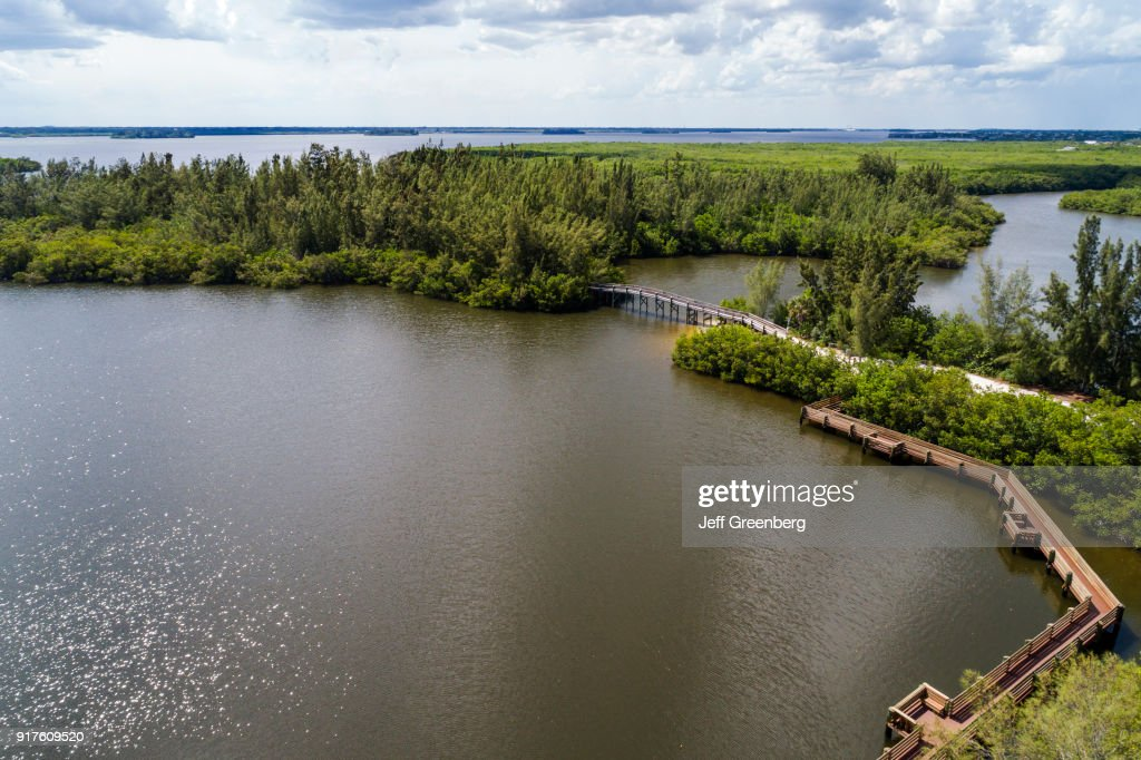 Florida Vero Beach Round Island Park With Indian River And Boardwalks News Photo
