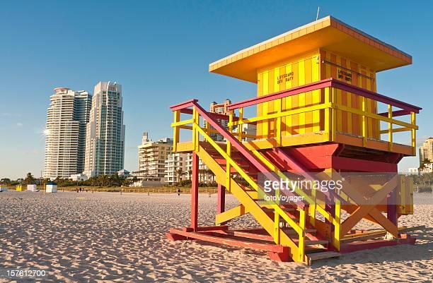 Florida vibrant lifeguard hut Miami Beach high rise USA