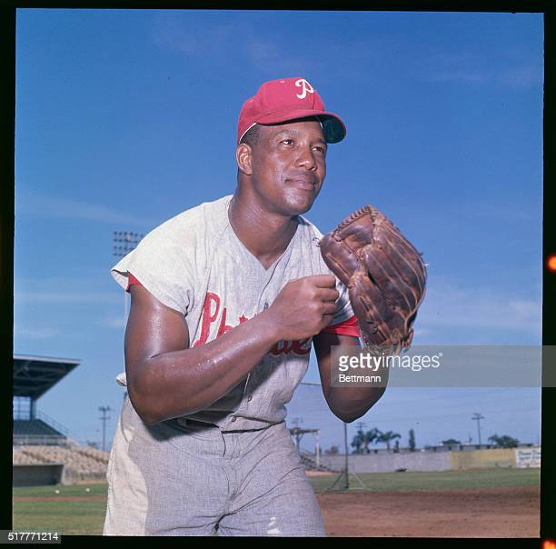 Wes Covington of the Phillies is shown in an action pose with glove in hand during spring training