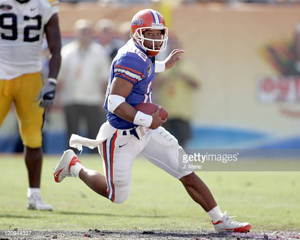 Florida's Chris Leak looks for some additional yardage in Monday's Outback Bowl game against Iowa at Raymond James Stadium in Tampa, Florida on...
