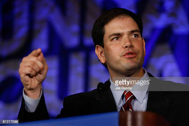 Florida's Speaker of the House Marco Rubio delivers a speech about Cuba before Democratic presidential hopeful Sen Barack Obama speaks during a Cuban...