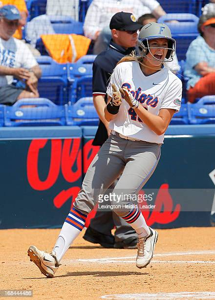 Florida's Taylor Schwarz reacts to scoring in the bottom of the 4th inning against Alabama in the SEC Softball tournament at John Cropp Stadium in...