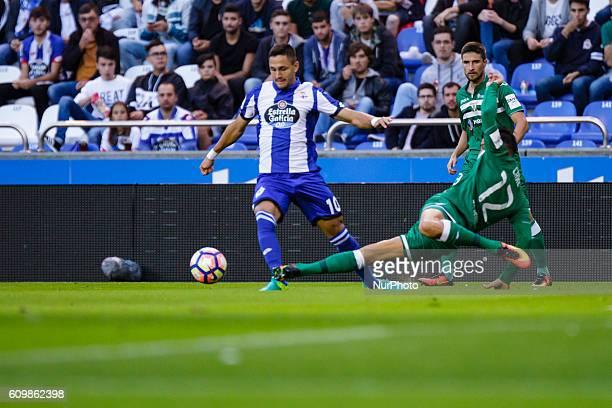 Florin Andone and Carl Medjani in action during the Spanish league football match between Real Club Deportivo de La Coruña vs Club Deportivo Leganés...