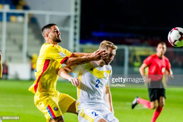 Florin Andone and Serhiy Malyi during the World Cup qualifying campaign 2018 game between Romania and Kazakhstan at Ilie Oana Stadium Ploiesti...