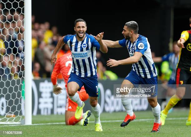 Florin Andone celebrates scoring the 2nd Brighton goal with Neal Maupay during the Premier League match between Watford FC and Brighton Hove Albion...