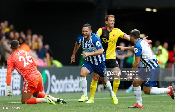 Florin Andone celebrates scoring the 2nd Brighton goal with Neal Maupay during the Premier League match between Watford FC and Brighton & Hove Albion...