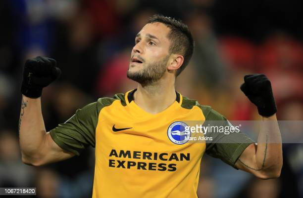 Florin Andone of Brighton and Hove Albion celebrates after scoring his team's second goal during the Premier League match between Huddersfield Town...