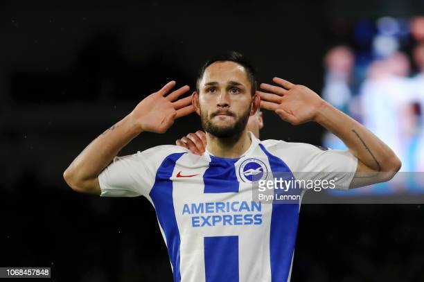 Florin Andone of Brighton and Hove Albion celebrates after scoring his team's third goal during the Premier League match between Brighton Hove Albion...
