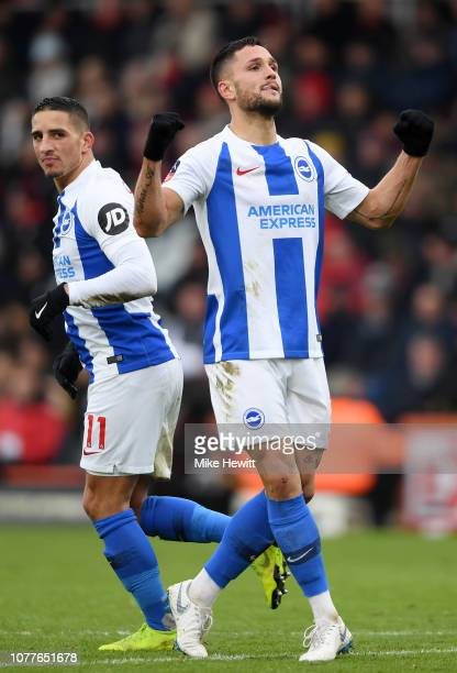 Florin Andone of Brighton and Hove Albion celebrates after scoring his team's third goal during the FA Cup Third Round match between AFC Bournemouth...
