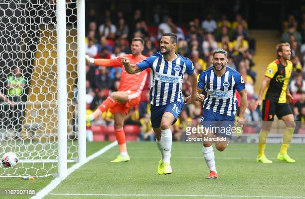 Florin Andone of Brighton and Hove Albion celebrates after scoring his team's second goal during the Premier League match between Watford FC and...