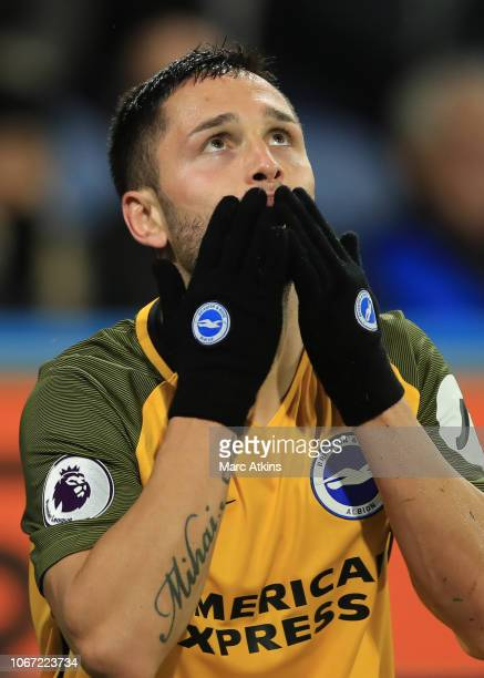 Florin Andone of Brighton and Hove Albion celebrates scoring their 2nd goal during the Premier League match between Huddersfield Town and Brighton &...
