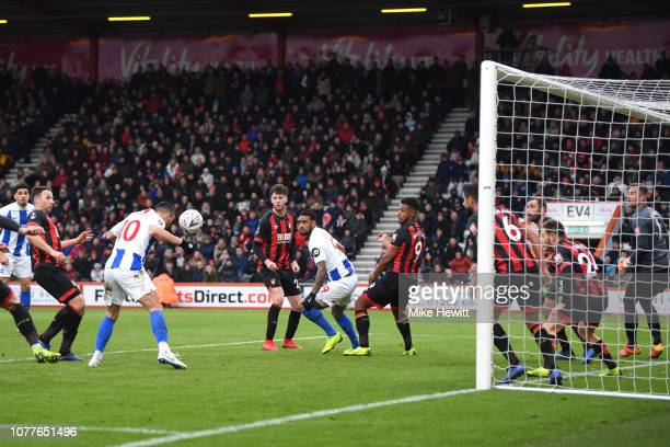 Florin Andone of Brighton and Hove Albion scores his team's second goal during the FA Cup Third Round match between AFC Bournemouth and Brighton and...
