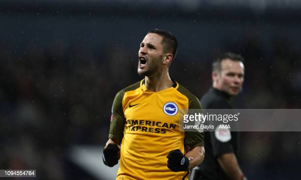 Florin Andone of Brighton Hove Albion celebrates after scoring a goal to make it 11 during the FA Cup Fourth Round Replay match between West Bromwich...