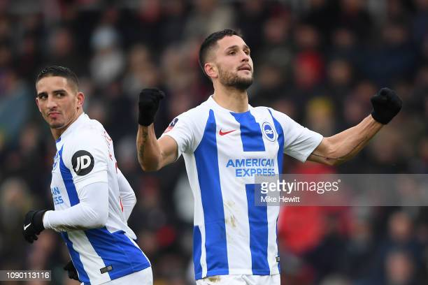 Florin Andone of Brighton Hove Albion celebrates after scoring his side's third goal as Anthony Knockaert looks on during the FA Cup Third Round...