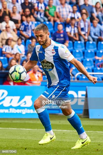 Florin Andone of Deportivo de La Coruna in action during the La Liga match between Deportivo La Coruna and Real Sociedad at Riazor Abanca Stadium on...
