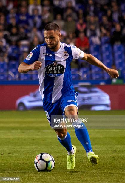 Florin Andone of Deportivo de La Coruna in action during the La Liga match between Deportivo La Coruna and Deportivo Alaves at Abanca Riazor Stadium...