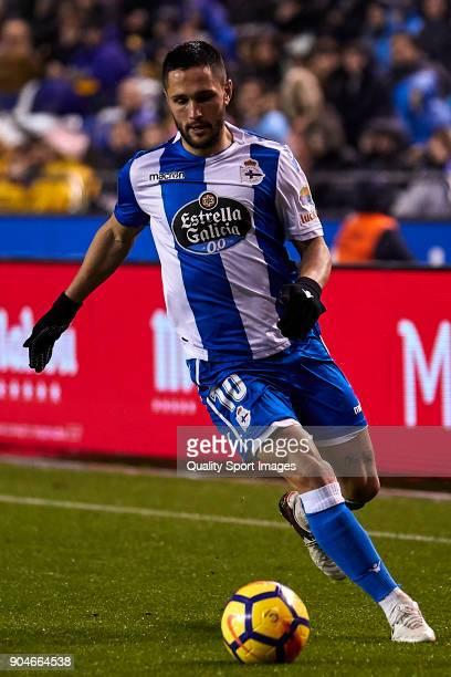 Florin Andone of Deportivo de La Coruna in action during the La Liga match between Deportivo La Coruna and Valencia CF at Abanca Riazor Stadium on...