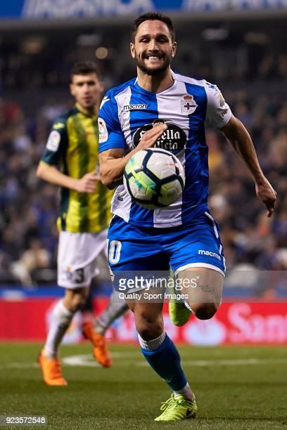 Florin Andone of Deportivo de La Coruna in action during the La Liga match between Deportivo La Coruna and Espanyol at on February 23 2018 in La...