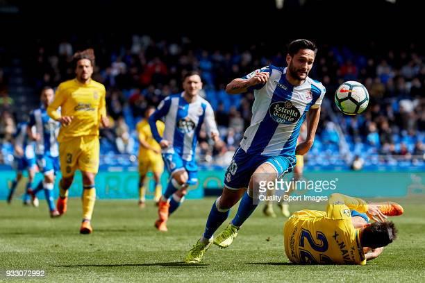 Florin Andone of Deportivo de La Coruna in action during the La Liga match between Deportivo La Coruna and Las Palmas at Abanca Riazor Stadium on...