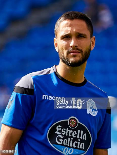 Florin Andone of Deportivo de La Coruna looks on prior to the La Liga match between Deportivo La Coruna and Getafe at Abanca Riazor Stadium on...