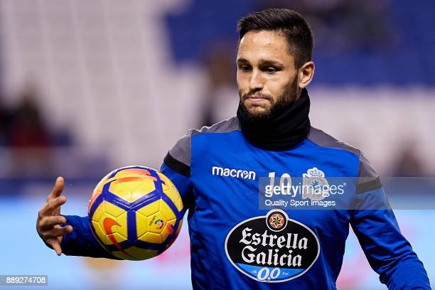 Florin Andone of Deportivo de La Coruna looks on prior to the La Liga match between Deportivo La Coruna and Leganes at Abanca Riazor Stadium on...
