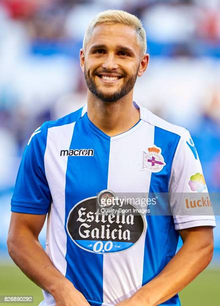 Florin Andone of Deportivo de La Coruna looks on prior to the Pre Season Friendly match between Deportivo de La Coruna and West Bromwich Albion at...