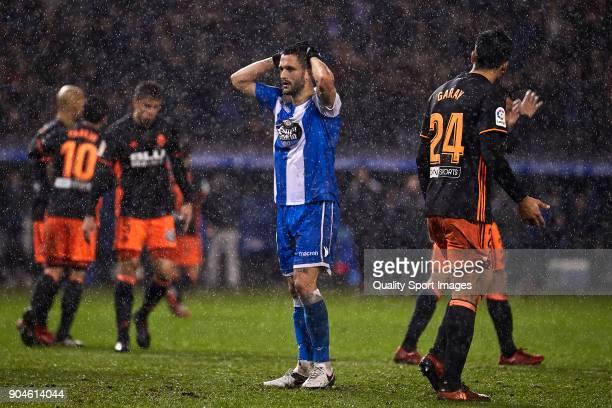 Florin Andone of Deportivo de La Coruna reacts during the La Liga match between Deportivo La Coruna and Valencia CF at Abanca Riazor Stadium on...