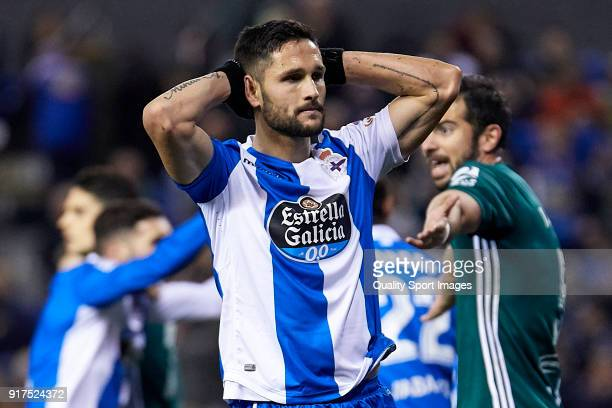 Florin Andone of Deportivo de La Coruna reacts during the La Liga match between Deportivo La Coruna and Real Betis at Riazor Stadium on February 12...