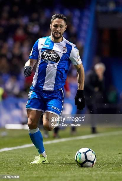 Florin Andone of Deportivo de La Coruna runs with the ball during the La Liga match between Deportivo La Coruna and Real Betis at Riazor Stadium on...