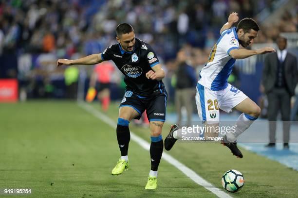 Florin Andone of Deportivo La Coruna Joseba Zaldua of Leganes during the La Liga Santander match between Leganes v Deportivo la Coruna at the Estadio...