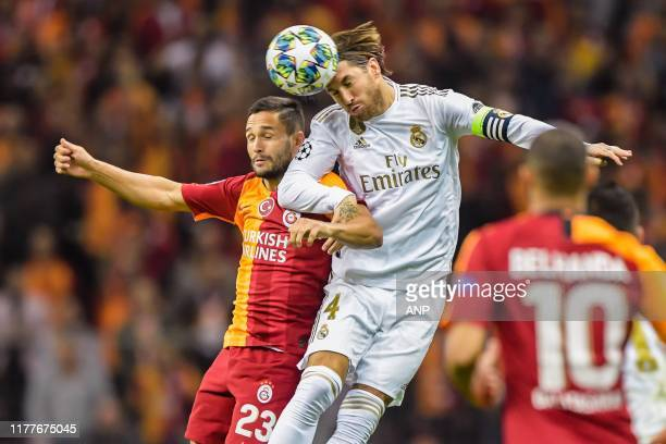 Florin Andone of Galatasaray AS, Sergio Ramos Garcia of Real Madrid CF during the UEFA Champions League group A match between Galatasaray AS and Real...