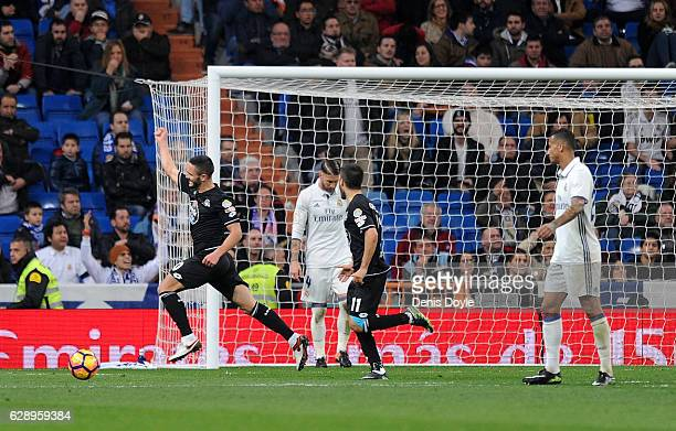 Florin Andone of RC Deportivo la Coruna celebrates after his team scored their 2nd goal during the La Liga match between Real Madrid CF and RC...