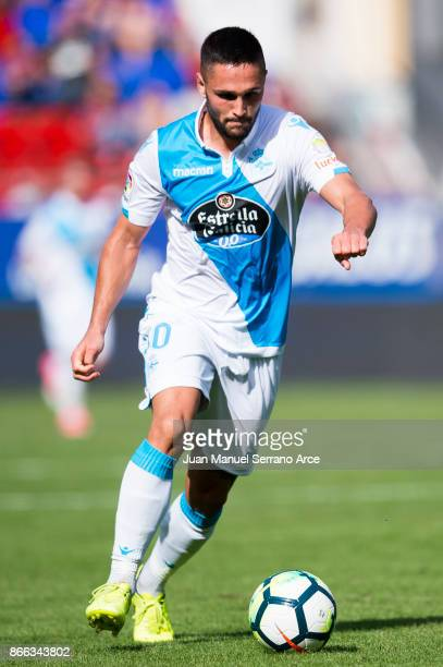 Florin Andone of RC Deportivo La Coruna controls the ball during the La Liga match between SD Eibar and RC Deportivo La Coruna at Ipurua Municipal...