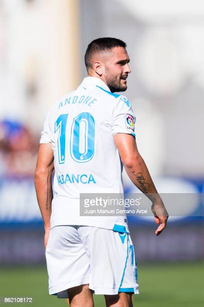 Florin Andone of RC Deportivo La Coruna reacts during the La Liga match between SD Eibar and RC Deportivo La Coruna at Ipurua Municipal Stadium on...