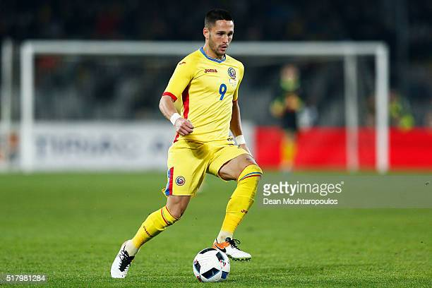 Florin Andone of Romania in action during the International Friendly match between Romania and Spain held at the Cluj Arena on March 27 2016 in...