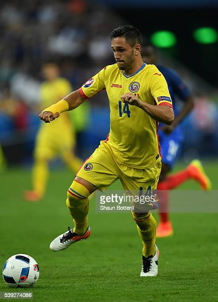 Florin Andone of Romania in action during the UEFA Euro 2016 Group A match between France and Romania at Stade de France on June 10 2016 in Paris...