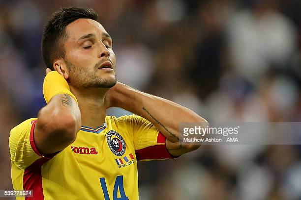 Florin Andone of Romania reacts during the UEFA EURO 2016 Group A match between France and Romania at Stade de France on June 10 2016 in Paris France