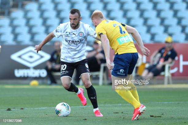 Florin Berenguer of Melbourne City controls the ball during the round 24 ALeague match between the Central Coast Mariners and Melbourne City at...