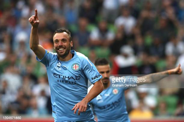 Florin BerenguerBohrer of Melbourne City celebrates his goal during the round 18 ALeague match between Melbourne City and Melbourne Victory at AAMI...