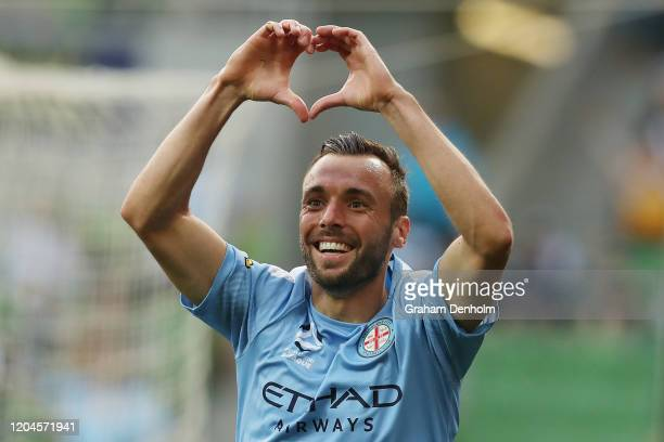 Florin Berenguer-Bohrer of Melbourne City celebrates his goal during the round 18 A-League match between Melbourne City and Melbourne Victory at AAMI...