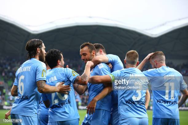 Florin BerenguerBohrer of Melbourne City celebrates his goal with his teammates during the round 18 ALeague match between Melbourne City and...
